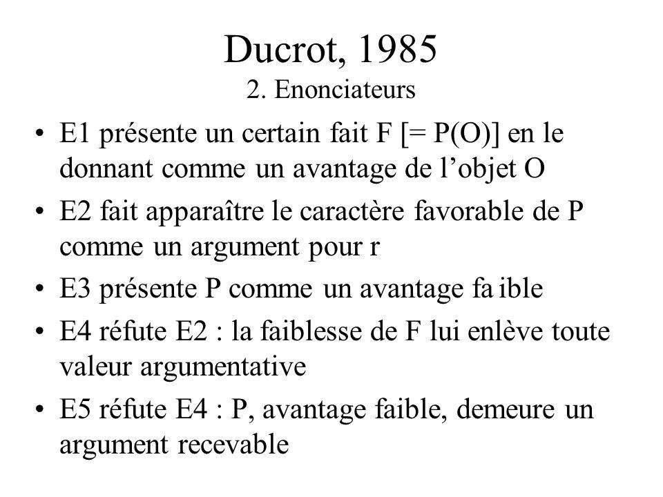 Ducrot, 1985 2. Enonciateurs E1 présente un certain fait F [= P(O)] en le donnant comme un avantage de l'objet O.